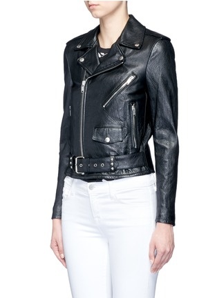 Front View - Click To Enlarge - Saint Laurent - Belted leather motorcycle jacket
