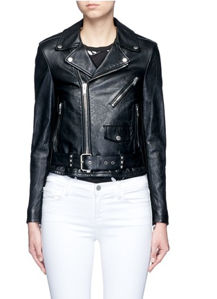 Main View - Click To Enlarge - Saint Laurent - Belted leather motorcycle jacket