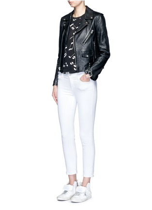 Figure View - Click To Enlarge - Saint Laurent - Belted leather motorcycle jacket