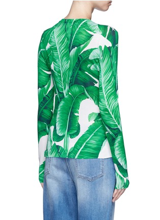 Back View - Click To Enlarge - Dolce & Gabbana - Banana leaf print silk cardigan