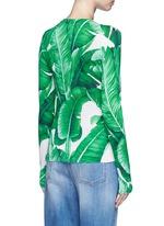 Banana leaf print silk cardigan