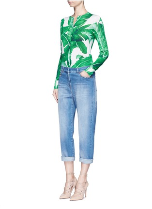Figure View - Click To Enlarge - Dolce & Gabbana - Banana leaf print silk cardigan