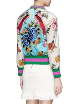 Mix embroidery floral print satin bomber jacket