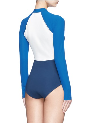 Flagpole Swim - 'Kelly' cutout colourblock long sleeve swimsuit