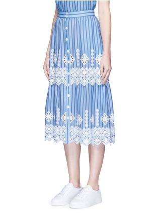 Front View - Click To Enlarge - Miguelina - 'Carolina' cutwork embroidery stripe midi skirt