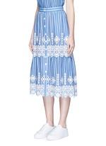 'Carolina' cutwork embroidery stripe midi skirt