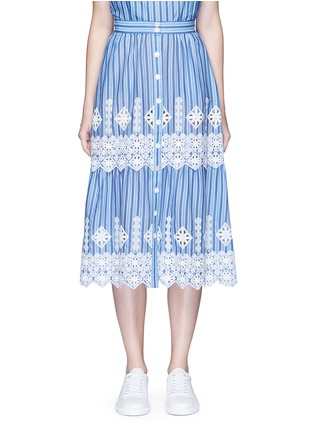 Main View - Click To Enlarge - Miguelina - 'Carolina' cutwork embroidery stripe midi skirt