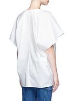 Wide sleeve poplin plunge V-neck top