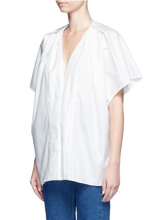 Front View - Click To Enlarge - Balenciaga - Wide sleeve poplin plunge V-neck top