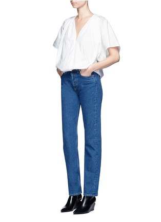 Figure View - Click To Enlarge - Balenciaga - Wide sleeve poplin plunge V-neck top