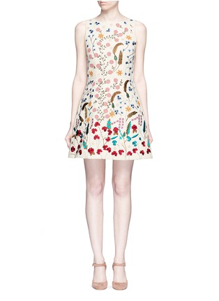 Main View - Click To Enlarge - alice + olivia - 'Lindsey' beaded floral embroidery A-line dress