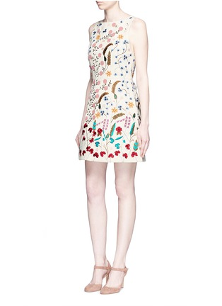 Figure View - Click To Enlarge - alice + olivia - 'Lindsey' beaded floral embroidery A-line dress