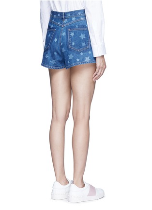 Back View - Click To Enlarge - Valentino - Star print denim shorts
