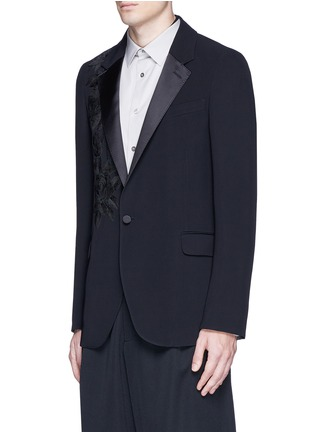 Front View - Click To Enlarge - Alexander McQueen - Waxed floral embroidery crepe blazer
