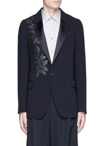 Waxed floral embroidery crepe blazer