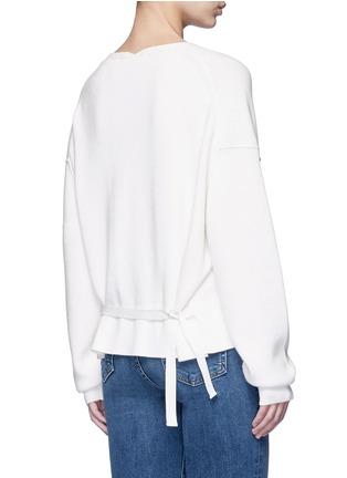 Back View - Click To Enlarge - Helmut Lang - Belted V-neck cotton-cashmere sweater