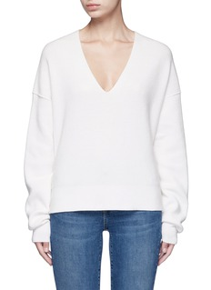 Helmut LangBelted V-neck cotton-cashmere sweater