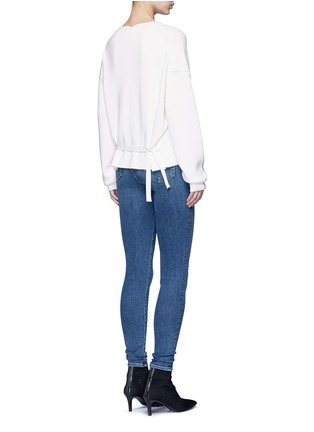 Figure View - Click To Enlarge - Helmut Lang - Belted V-neck cotton-cashmere sweater