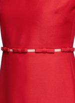Bow appliqué mesh waist Crepe Couture dress