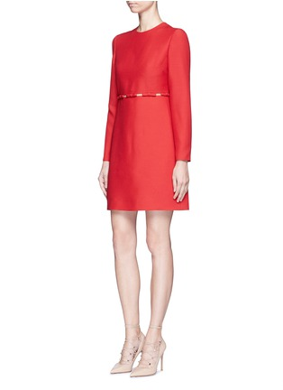 Figure View - Click To Enlarge - Valentino - Bow appliqué mesh waist Crepe Couture dress
