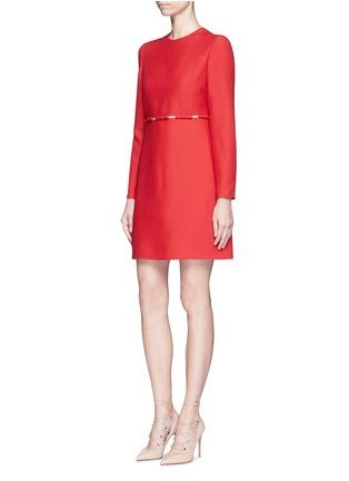 Valentino-Bow appliqué mesh waist Crepe Couture dress