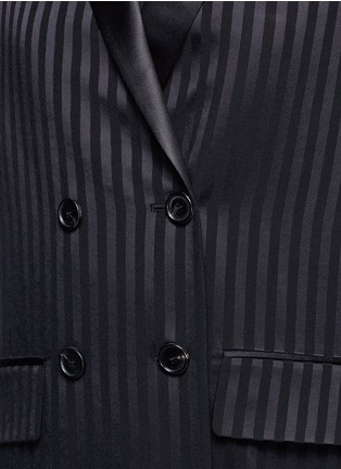 Detail View - Click To Enlarge - Givenchy Beauty - Textured stripe silk satin lapel crepe coat