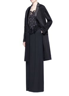 Givenchy Textured stripe silk satin lapel crepe coat