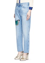 Butterfly embroidery cotton jeans