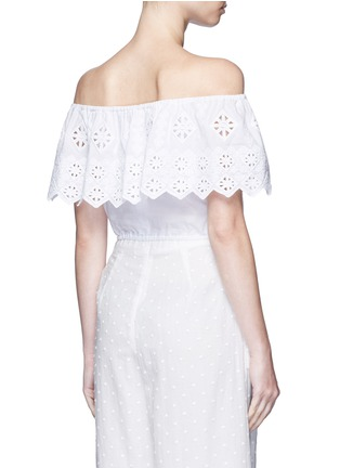 Back View - Click To Enlarge - Miguelina - 'Dakota' geometric embroidery off-shoulder cropped top