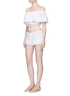 Miguelina 'Dakota' geometric embroidery off-shoulder cropped top