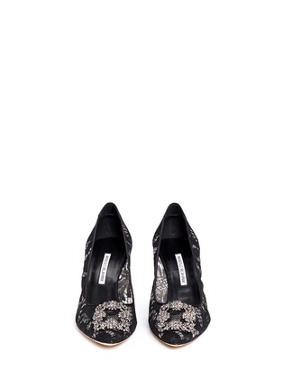 Front View - Click To Enlarge - Manolo Blahnik - 'Hangisila' crystal jewel lace pumps
