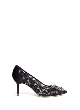 Main View - Click To Enlarge - Manolo Blahnik - 'Hangisila' crystal jewel lace pumps