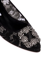 'Hangisi' crystal brooch lace skimmer flats