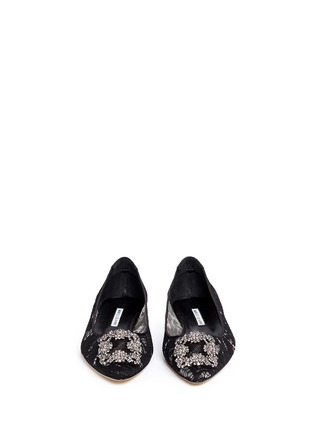 Front View - Click To Enlarge - Manolo Blahnik - 'Hangisi' crystal brooch lace skimmer flats