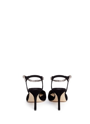 Back View - Click To Enlarge - Manolo Blahnik - 'Ministra' crystal buckle suede pumps