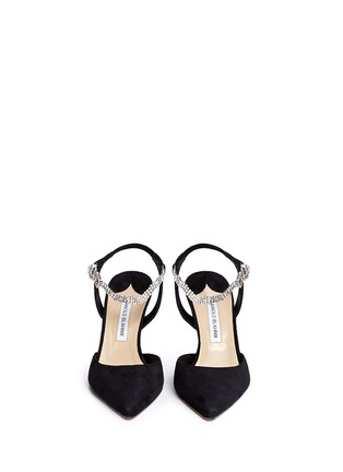 Front View - Click To Enlarge - Manolo Blahnik - 'Ministra' crystal buckle suede pumps
