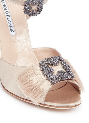 Detail View - Click To Enlarge - Manolo Blahnik - 'Celsus' crystal brooch fringe satin sandals
