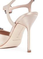 'Celsus' crystal brooch fringe satin sandals