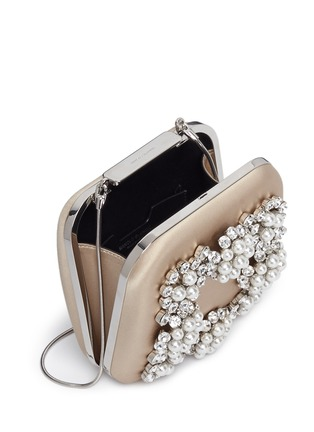 Detail View - Click To Enlarge - Manolo Blahnik - 'Hangi' Swarovski crystal pearl satin box clutch