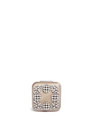 Main View - Click To Enlarge - Manolo Blahnik - 'Hangi' Swarovski crystal pearl satin box clutch