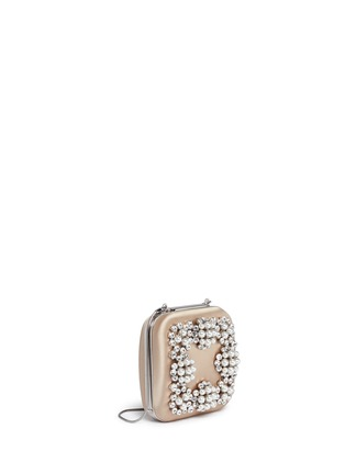 Figure View - Click To Enlarge - Manolo Blahnik - 'Hangi' Swarovski crystal pearl satin box clutch