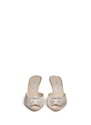 Front View - Click To Enlarge - Manolo Blahnik - 'Hangisi' crystal brooch satin mules