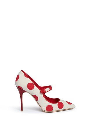 Main View - Click To Enlarge - Manolo Blahnik - 'Campari' dot print canvas Mary Jane pumps