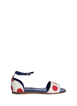 Main View - Click To Enlarge - Manolo Blahnik - 'Laura' dot print canvas sandals