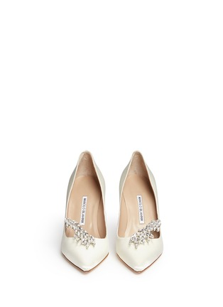 Front View - Click To Enlarge - Manolo Blahnik - 'Nadira' crystal jewel satin pumps