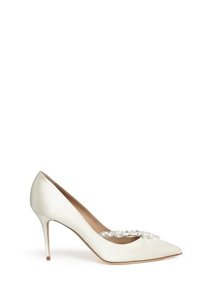 Main View - Click To Enlarge - Manolo Blahnik - 'Nadira' crystal jewel satin pumps