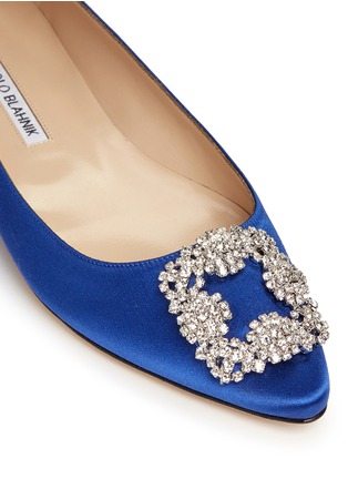 Detail View - Click To Enlarge - Manolo Blahnik - 'Hangisi' crystal brooch satin skimmer flats