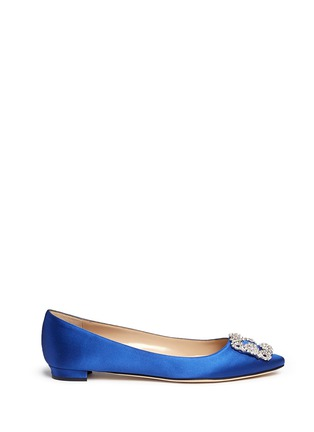 Main View - Click To Enlarge - Manolo Blahnik - 'Hangisi' crystal brooch satin skimmer flats