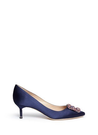 Main View - Click To Enlarge - Manolo Blahnik - 'Hangisi' crystal brooch satin pumps