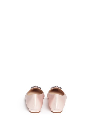 Back View - Click To Enlarge - Manolo Blahnik - 'Hangisi' crystal brooch satin skimmer flats